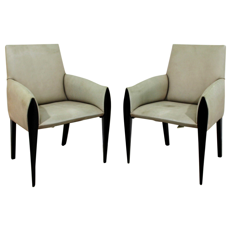 Contemporary Modernist Dakota Jackson Pair of Leather Lounge Armchairs