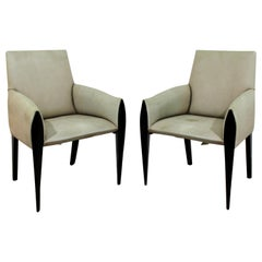Contemporary Modernist Dakota Jackson Pair of Leather Lounge Armchairs