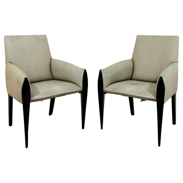 Contemporary Modernist Dakota Jackson Pair of Leather Lounge Armchairs For Sale