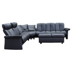 Contemporary Modernist Ekornes L Shaped Leather Sectional Sofa Norway w Ottoman