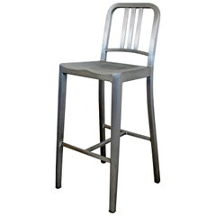 Contemporary Modernist Emeco Brushed Aluminum High Counter Navy Stool
