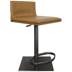 Contemporary Modernist Frag Brushed Aluminum Bar Counter Stool Italian Leather