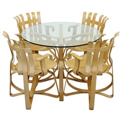 Contemporary Modernist Frank Gehry Knoll Face Off Dinette Table Hat Trick Chairs
