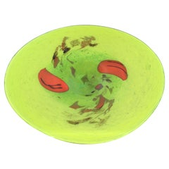 Contemporary Modernist Green Art Glass Centerpiece Bowl Sculpture Floral Red
