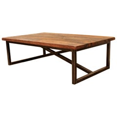 Contemporary Modernist Industrial Low Rectangular Drift Wood Metal Coffee Table