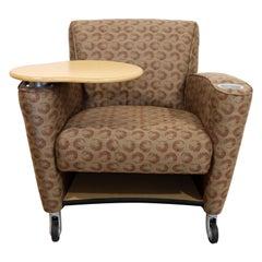 Contemporary Modernist Loewenstein Beige Fabric Tablet Armchair Adjustable Table