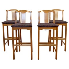 Contemporary Modernist Lowenstein Set of 4 Counter Bar Stools, 1990s
