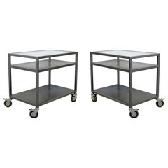 Contemporary Modernist Pair of 2-Tier Metal and Smoked Glass Serving Bar Carts