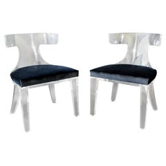 Contemporary Modernist Pair of Curved Lucite and Velvet Side Accent Side Chairs