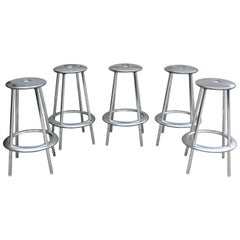 Contemporary Modernist Polished Aluminum Set of 5 Bar Stools by Allermuir, 1990s