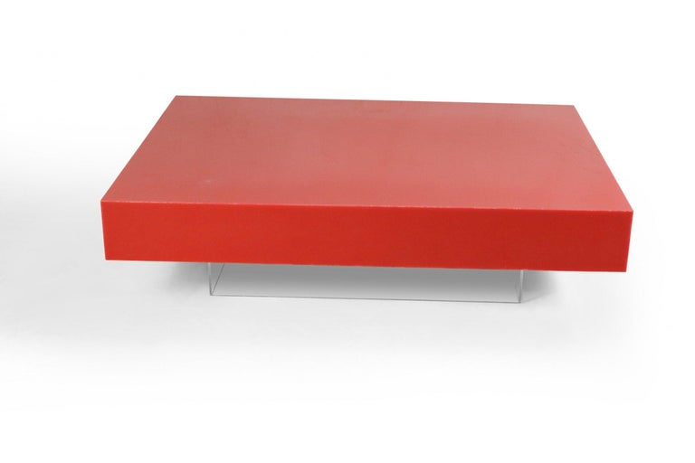American Contemporary Modernist Red Lacquer and Lucite Low Coffee Table For Sale