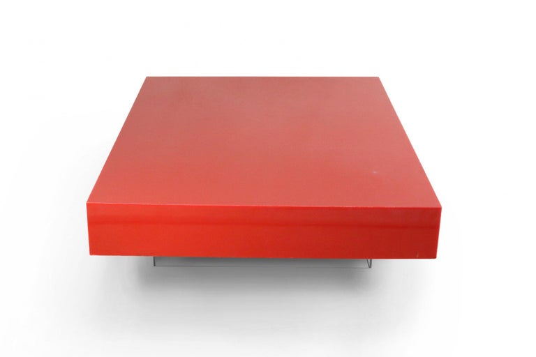 Lacquered Contemporary Modernist Red Lacquer and Lucite Low Coffee Table For Sale