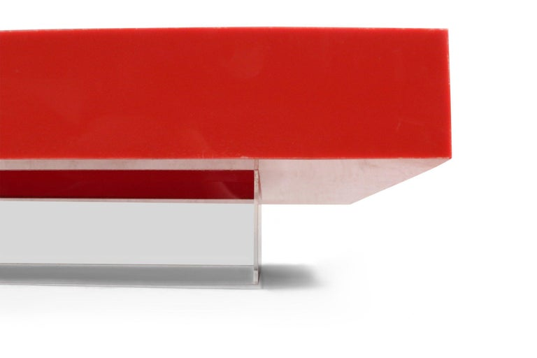 20th Century Contemporary Modernist Red Lacquer and Lucite Low Coffee Table For Sale
