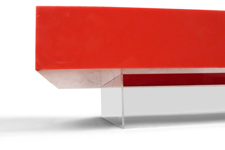 Resin Contemporary Modernist Red Lacquer and Lucite Low Coffee Table For Sale
