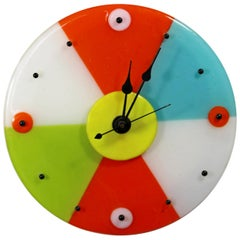 Contemporary Modernist Round Colorful Glass Wall Clock by Ruth Siegel, 1990s