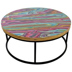 Contemporary Modernist Round Custom Made Glitter Coffee Table Functional Art