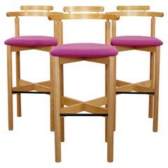 Contemporary Modernist Set of 3 Gangso Mobler Bar Stools Danish Blonde Wood