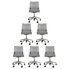 Contemporary Modernist Set of 6 Swivel Rolling Office Chairs Herman Miller