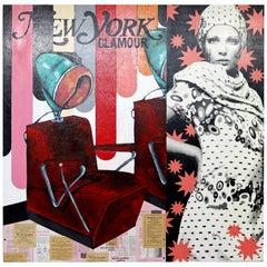 Contemporary Modernist Signed Acrylic Mixed Media Painting Melissa Mastrangelo
