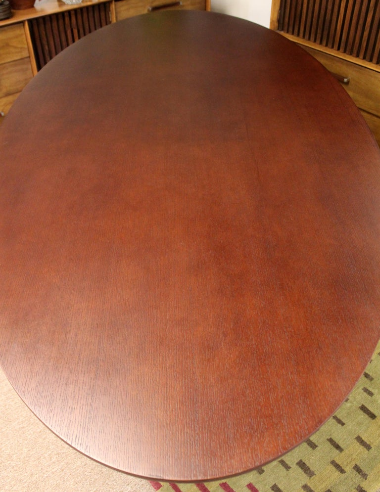 Contemporary Modernist Sullivan Oval Wood Dining Table 1990s 4