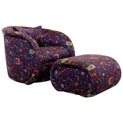 Contemporary Modernist Swivel Lounge Chair Ottoman by Preview, 1990s