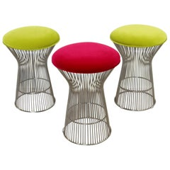 Contemporary Modernist Warren Platner Style Set of 3 Chrome Wire Stools Seats