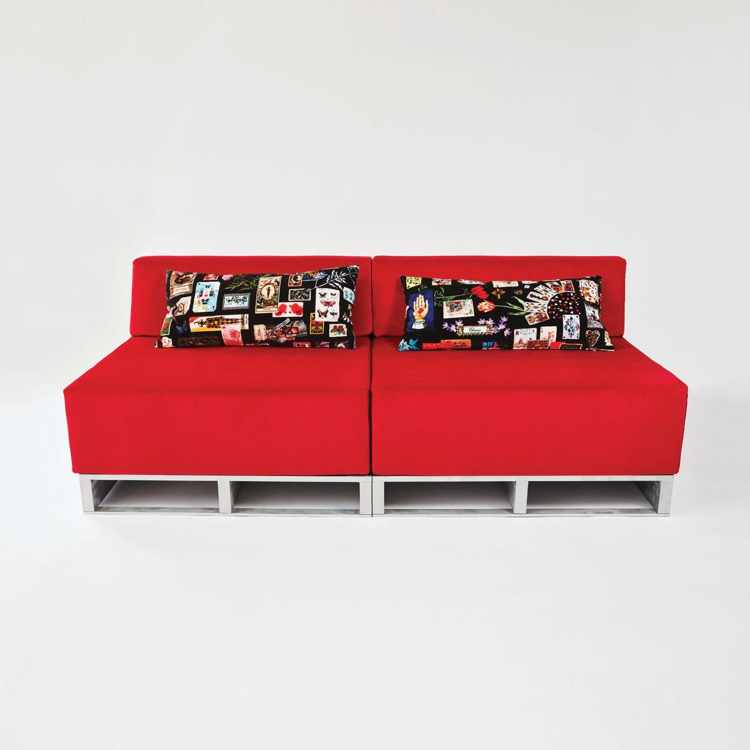 Contemporary Modular Sofa Indoor Outdoor In Red Fabric On Aluminum Base