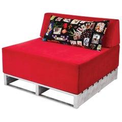 Zeitgenössisches kombinierbares Indoor/Outdoor Sofa in rotem Stoff auf Aluminium-Basis