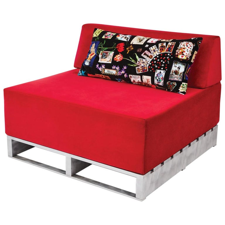 Contemporary Modular Sofa Indoor/Outdoor in Red Fabric on Aluminum Base