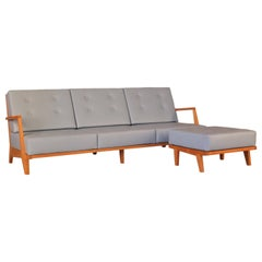 Contemporary Modular Sofa Made of Solid Cherry Wood with Removable Cushions