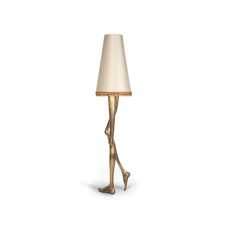 Modern Contemporary Monroe Floor Lamp in Oxidized Brushed Brass and Off White Lampshade For Sale