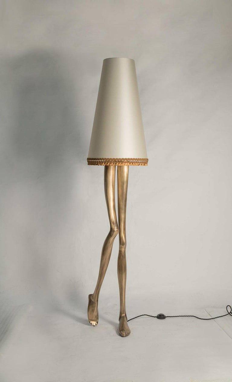 Silk Contemporary Monroe Floor Lamp in Oxidized Brushed Brass and Off White Lampshade For Sale