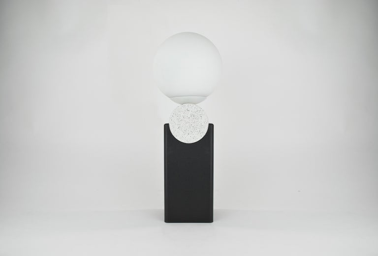 English Contemporary Monument Lamp Circle V2 in Jesmonite, Steel and Glass Bauhaus Style For Sale