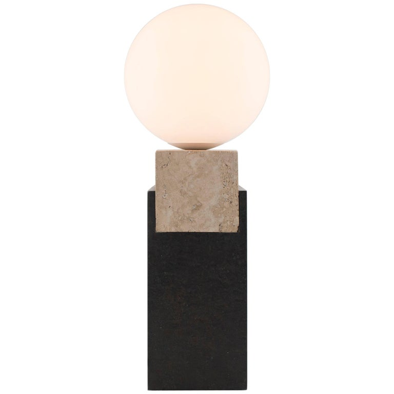 Contemporary Monument Lamp Square in Travertine, Solid Steel and Glass For Sale