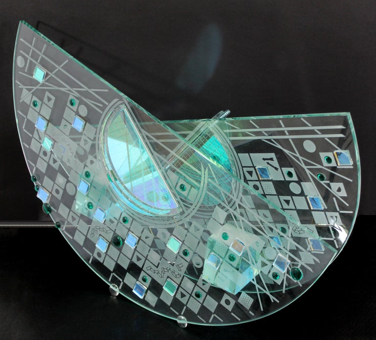 Late 20th Century Contemporary Large Toland Sands Memphis Abstract Art Glass Sculpture, 1980s For Sale