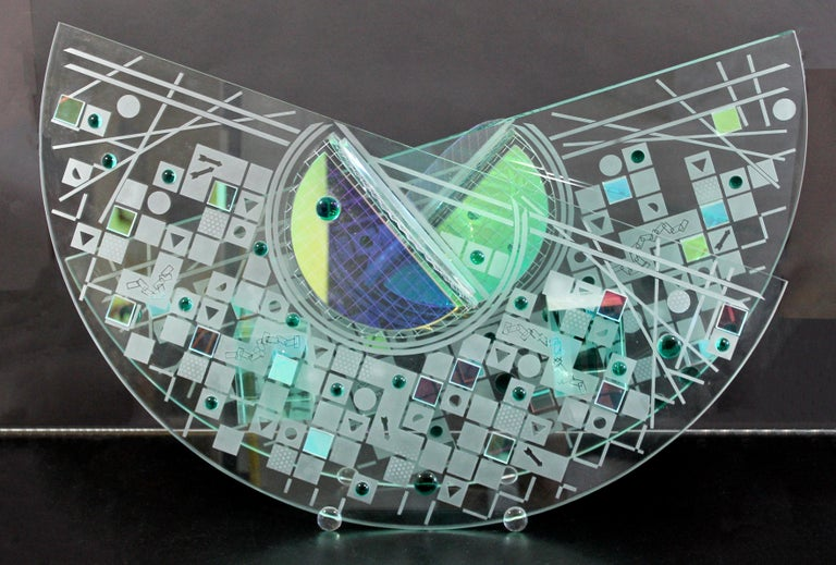 Contemporary Large Toland Sands Memphis Abstract Art Glass Sculpture, 1980s For Sale 4