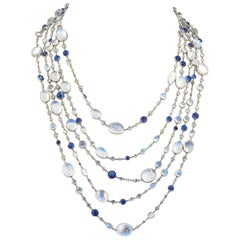 Contemporary Moonstone Sapphire Diamond Long Necklace