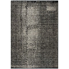 Contemporary Moroccan Berber Style Black and Cream Abstract Rug Fringe Optional