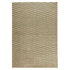 Contemporary Moroccan Geometric Beige and Brown Hand Knotted Wool Rug