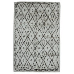 Contemporary Moroccan Geometric Hand Knotted Wool Rug