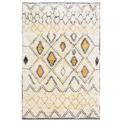 Contemporary Moroccan Ivory and Multi-Color Wool Rug with Tribal Pattern