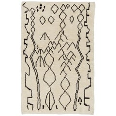 Contemporary Moroccan Rug, 100% Natural Undyed Wool, Custom Options Available