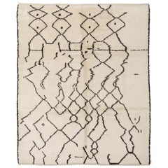 8x10 Ft Contemporary Moroccan Wool Rug, Hand Knotted. Custom Options Available