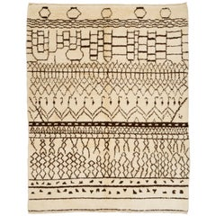 Contemporary Moroccan Rug made of Natural Wool. Custom Options Available