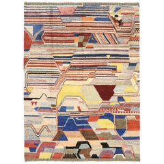 Contemporary Moroccan Rug with Abstract Cubism Style Inspired by Piet Mondrian