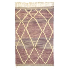 Contemporary Moroccan Souf Rug with Raised Pattern, High and Low Pile Flat-Weave