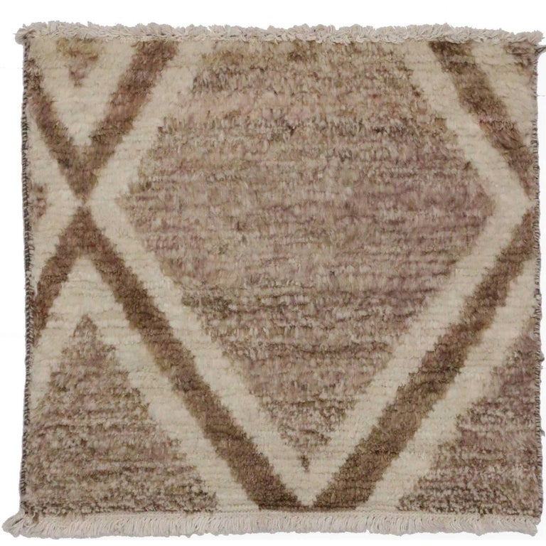 Contemporary Moroccan Style Accent Rug, Square Moroccan