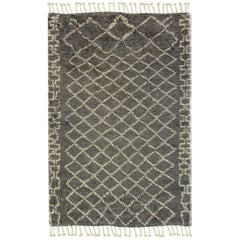 Contemporary Moroccan Style Gray and Ivory Wool Rug with Tribal Pattern
