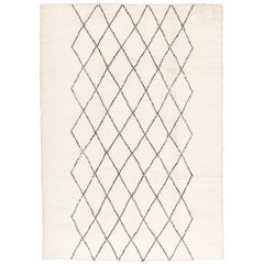 Contemporary Moroccan Style Ivory and Black Wool Rug with Diamond Pattern