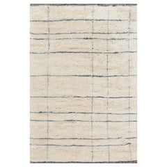 Contemporary Moroccan Style Ivory and Gray Wool Rug with Geometric Design